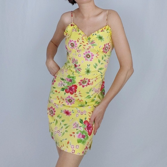 Vintage Dresses & Skirts - SOLD Late 90's / y2k yellow floral dress